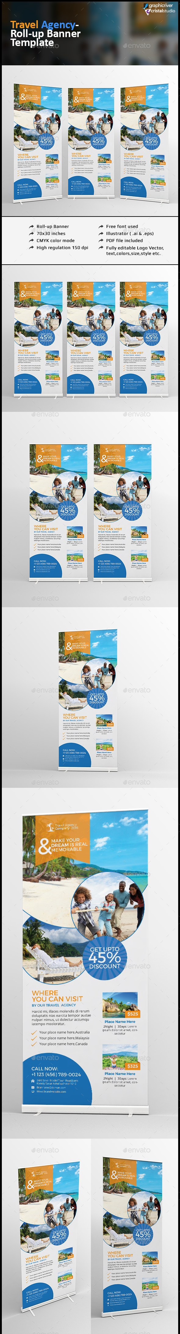 Travel Agency Roll Up Banner - Signage Print Templates