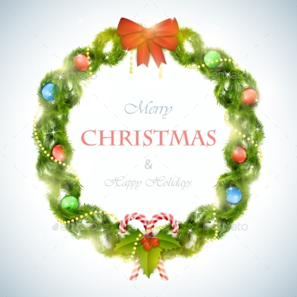 Christmas Wreath With Greeting Vector Illustration.  - Christmas Seasons/Holidays