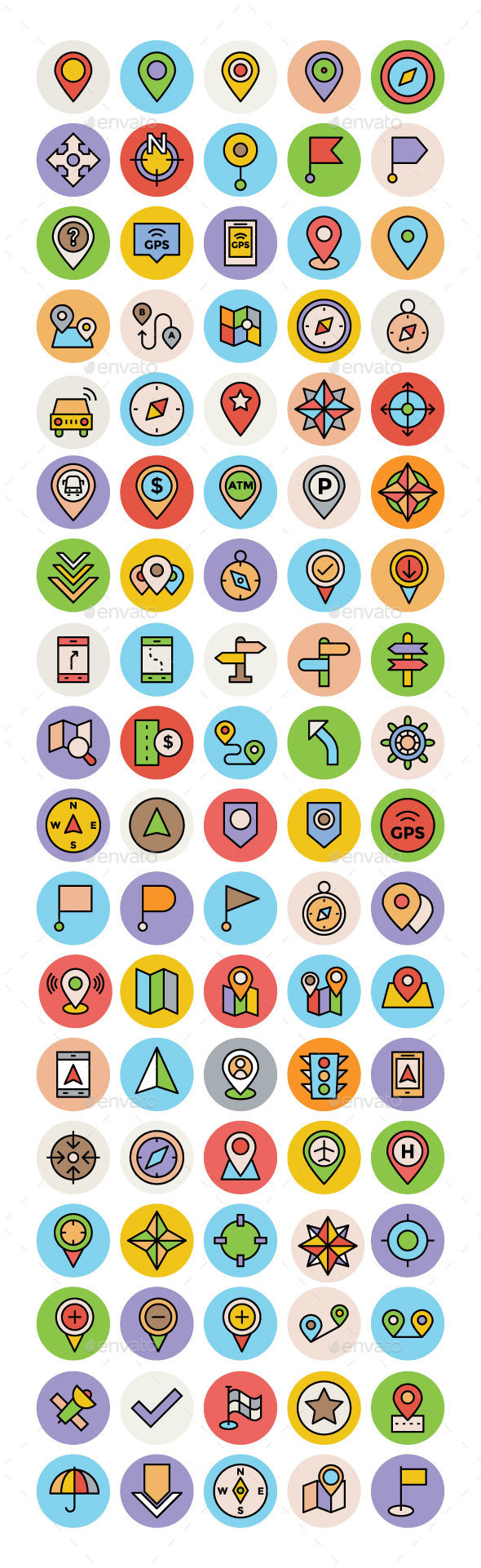 75+ Maps and Navigation Icons Set - Icons