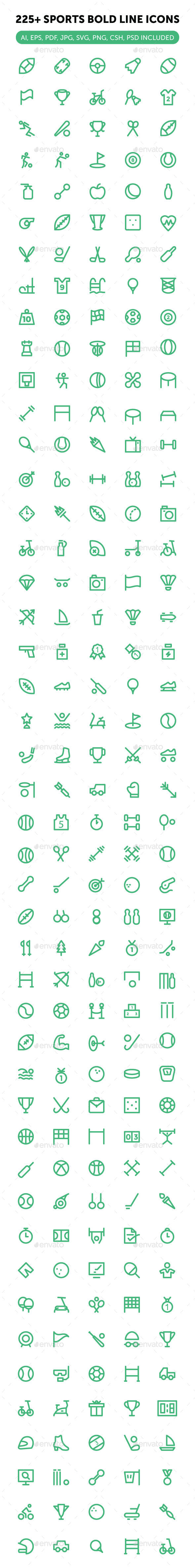 225+ Sports Icons Set - Objects Icons
