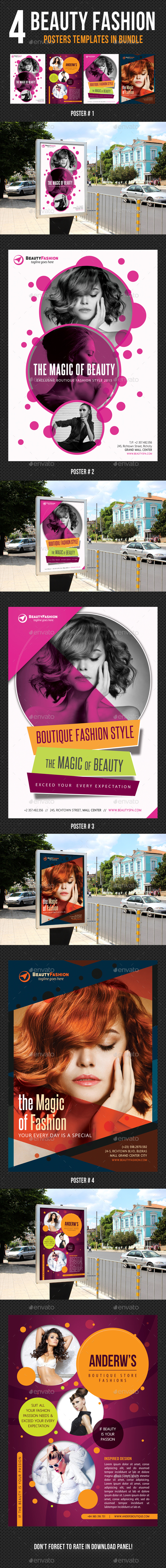 4 in 1 Beauty and Fashion Poster Bundle - Signage Print Templates