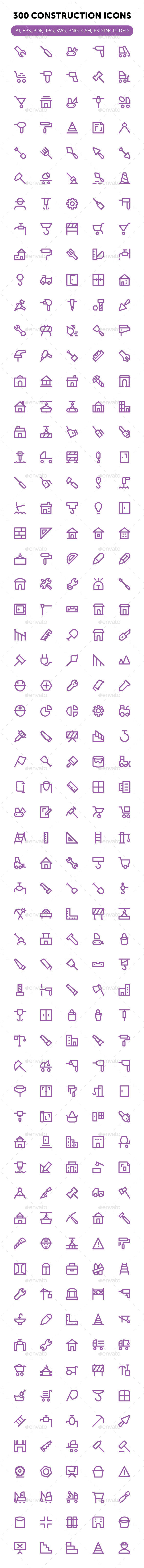 300 Construction Icons Set - Icons