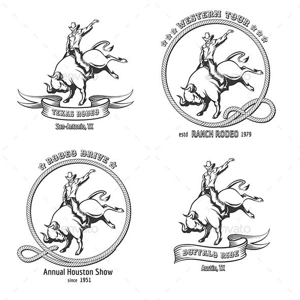 Rodeo Emblem Set - Sports/Activity Conceptual