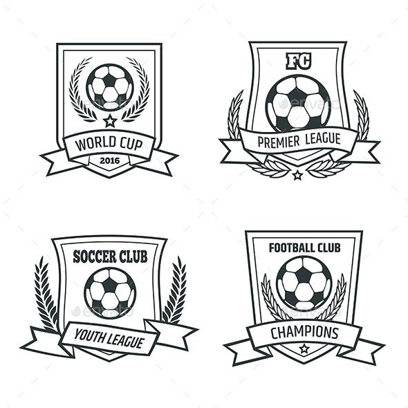Soccer and Football Emblem Set - Sports/Activity Conceptual