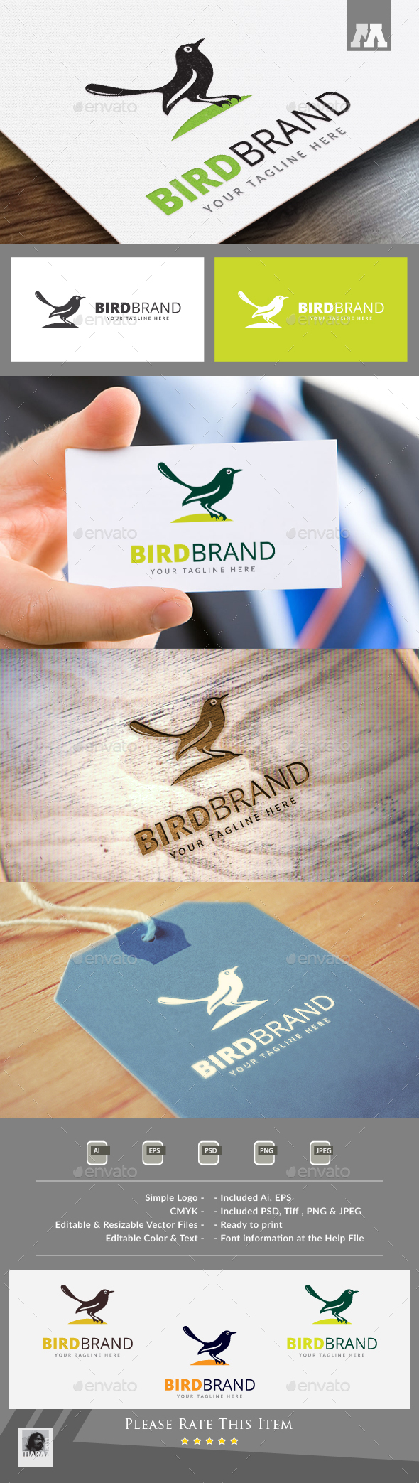 Bird Brand Logo - Animals Logo Templates