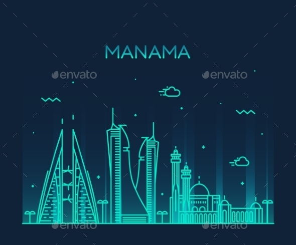 Manama Skyline Silhouette Vector Linear Style - Landscapes Nature