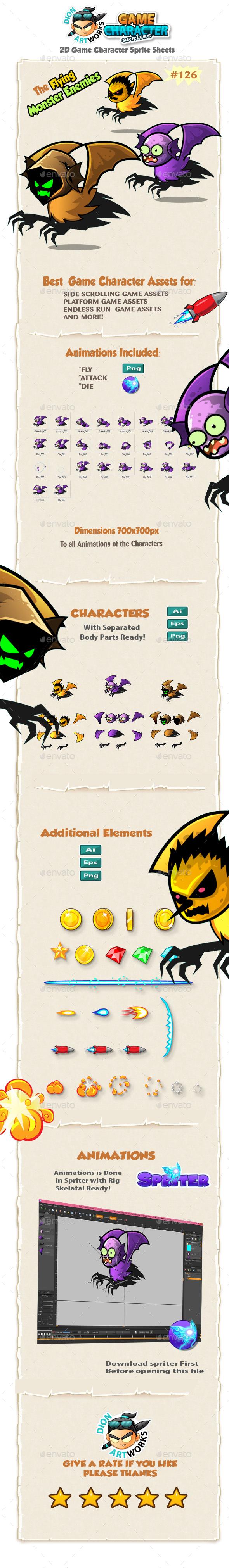 Flying Monster Enemies Charcter Sprites 126 - Sprites Game Assets