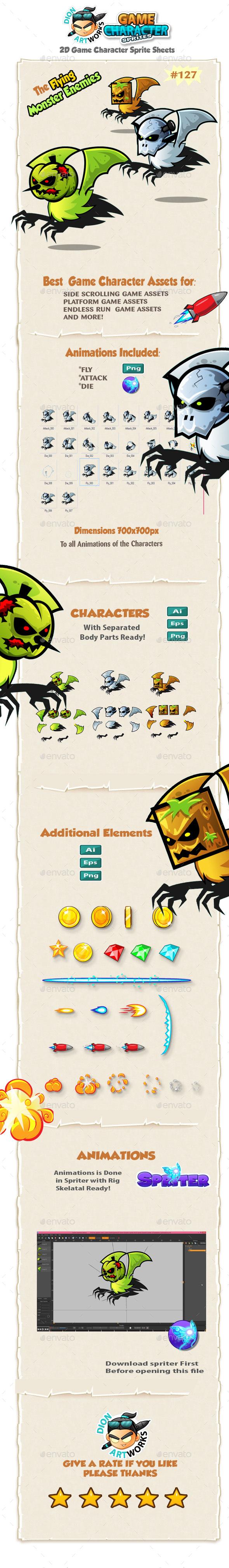 Flying Monster Enemies Character Sprites 127 - Sprites Game Assets