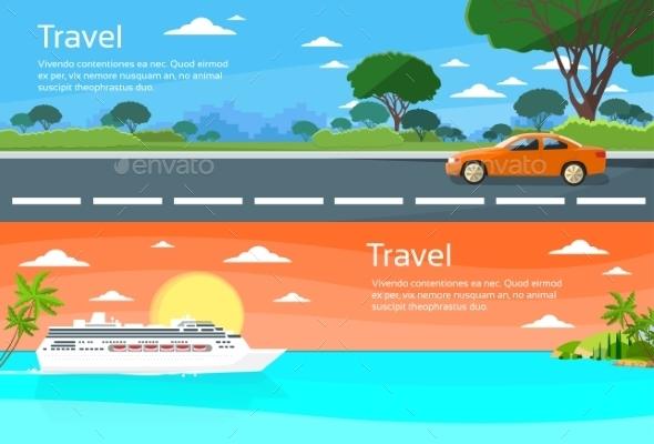Travel Web Banner Car Drive, Cruise Ship Tropical - Travel Conceptual