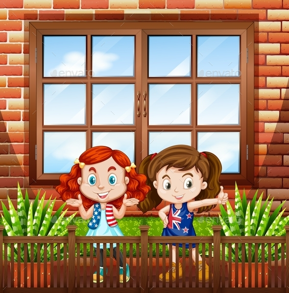 Little Girls Standing Outside the House - People Characters