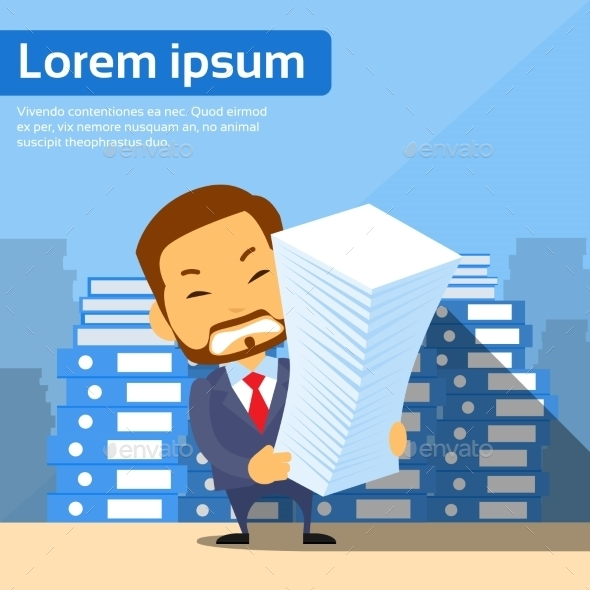 Businessman with Stack of Paper Documents - Concepts Business