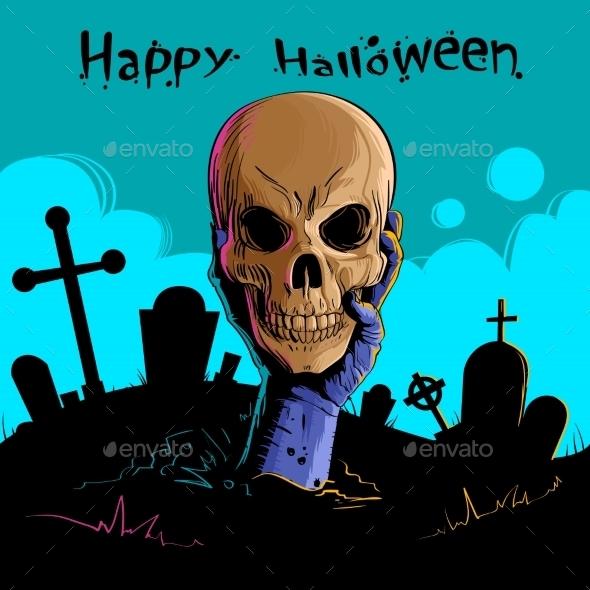 Zombie Hand Holds Dead Skull - Halloween Seasons/Holidays
