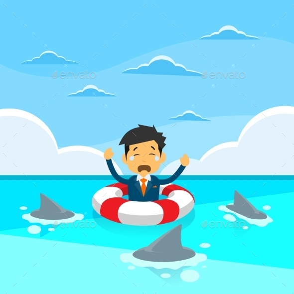 Businessman in Lifebouy Around Sharks - Concepts Business