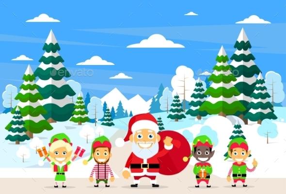 Santa Clause Christmas Elf Cartoon Character - Christmas Seasons/Holidays