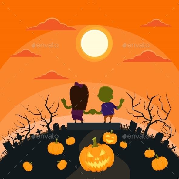 Halloween Zombie Couple in Cemetery - Halloween Seasons/Holidays