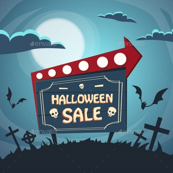Halloween Sale Promotional Sign Board in Cemetery - Halloween Seasons/Holidays
