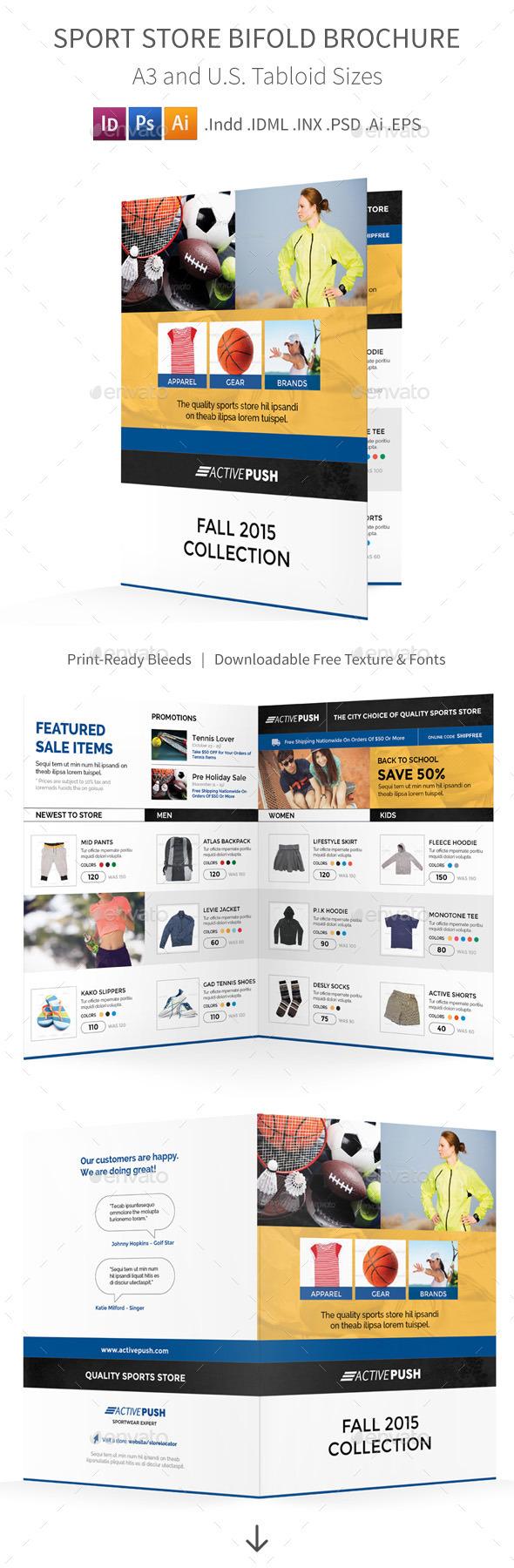 Sport Store Bifold / Halffold Brochure - Corporate Brochures