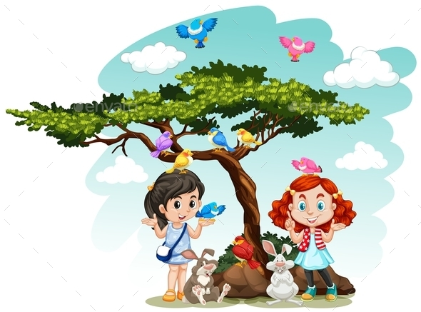 Girls standing under the tree - People Characters