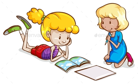 Little girls studying - People Characters