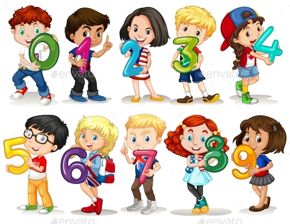 Children Holding Number Zero to Nine - People Characters