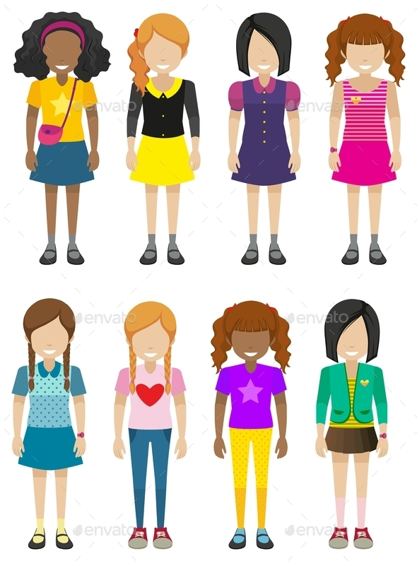 Faceless Young Ladies - People Characters