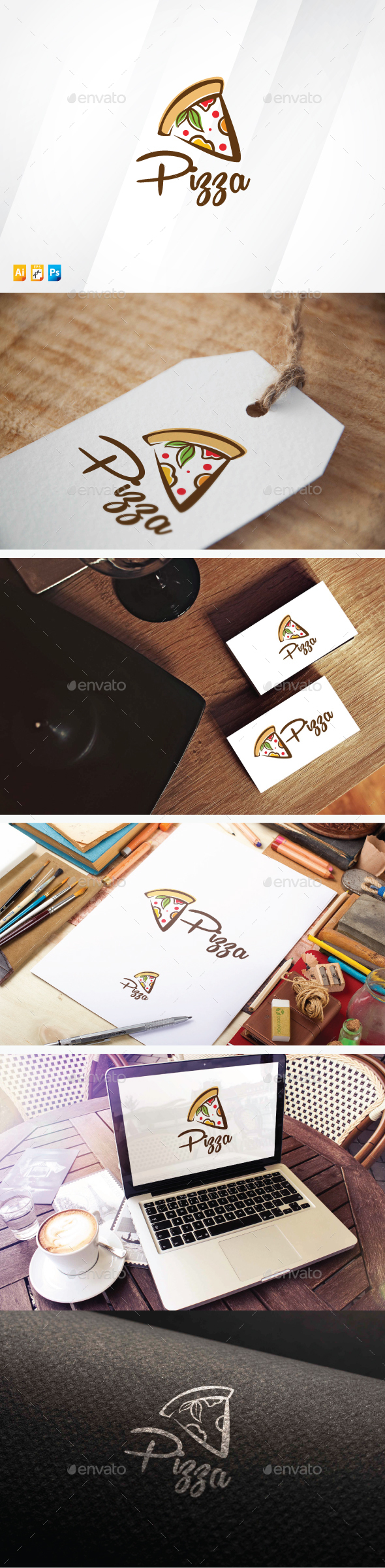 Organic Pizza - Food Logo Templates