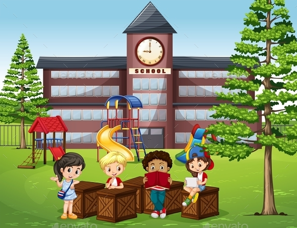 Children Reading and Sitting in Front of School - People Characters