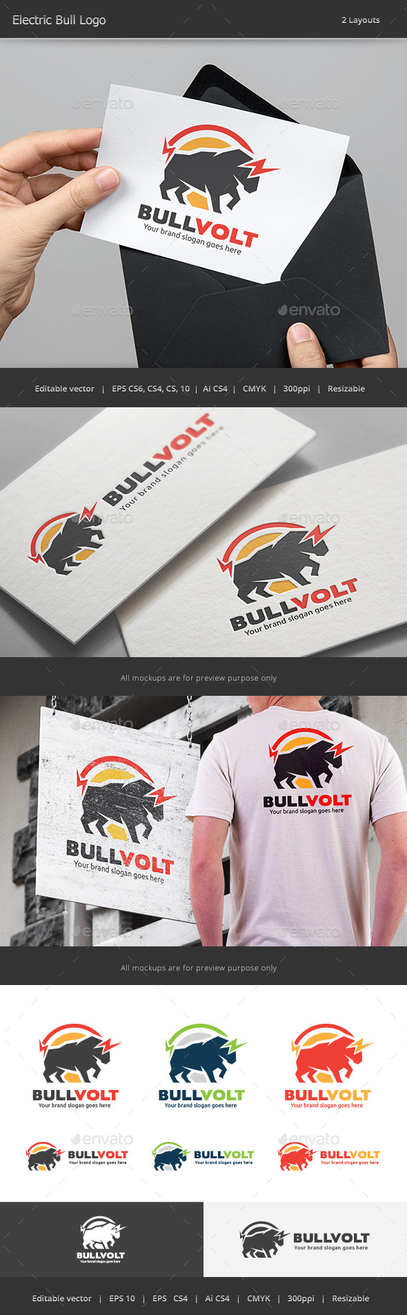 Electric Bull Logo - Animals Logo Templates