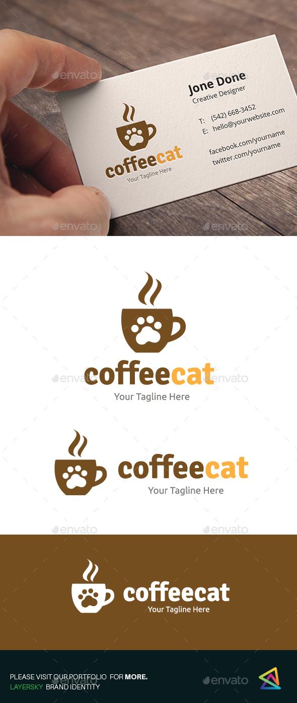 Coffee Cat - Food Logo Templates