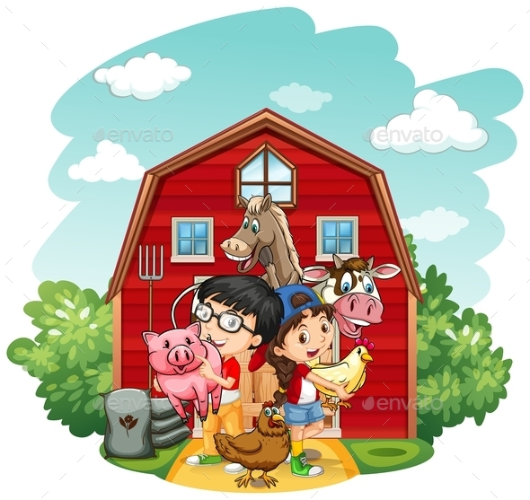 Children and Farm Animals - People Characters