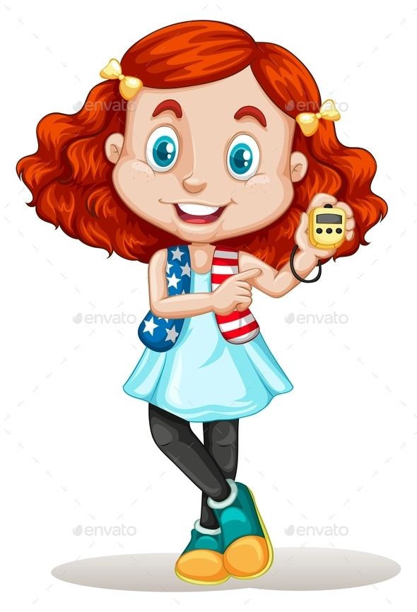 American Girl Holding Stopwatch - People Characters