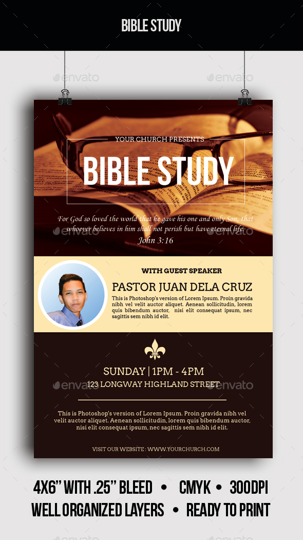 Bible Study Church Flyer - Church Flyers