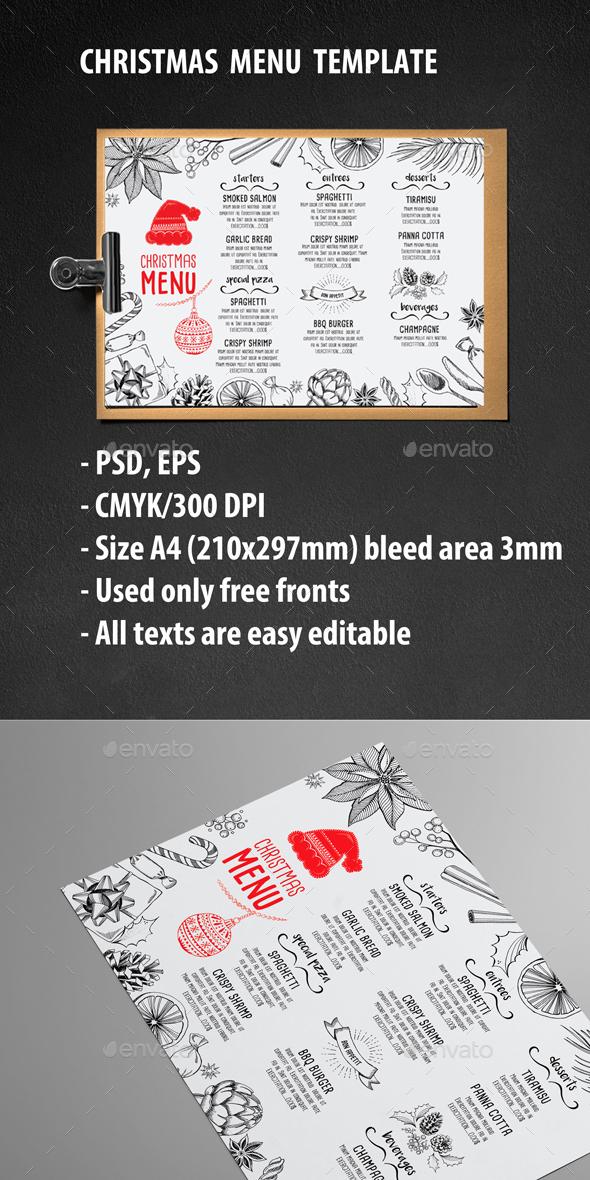 Christmas Menu Restaurant - Food Menus Print Templates