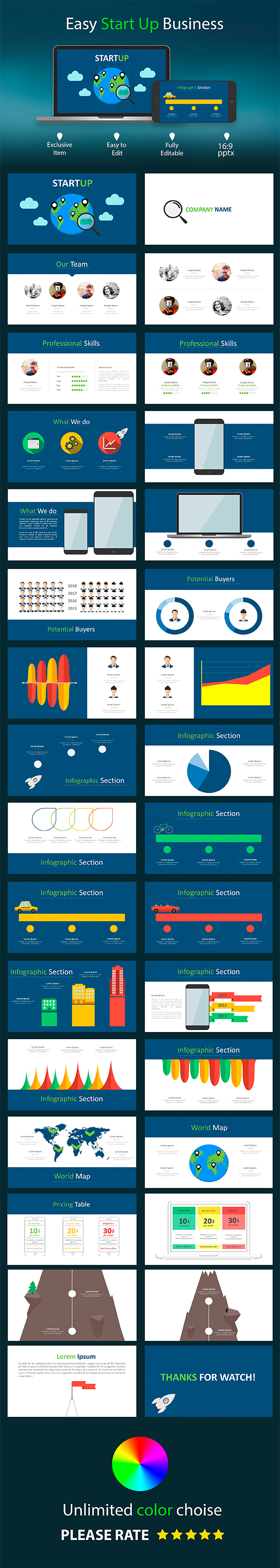 Easy StartUp Business - PowerPoint  Presentation - Abstract PowerPoint Templates