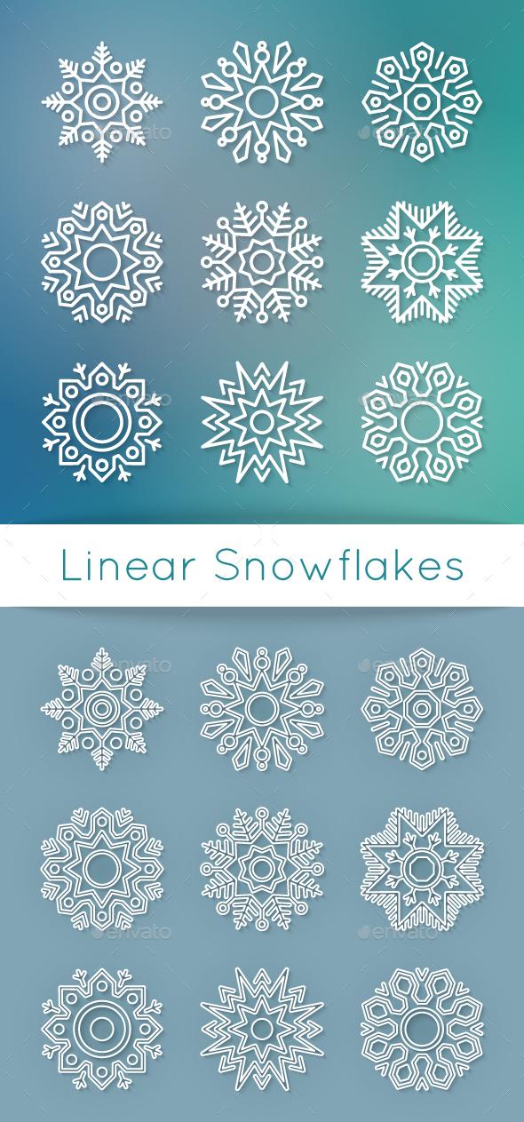 Christmas Flat Line Snowflakes - Christmas Seasons/Holidays