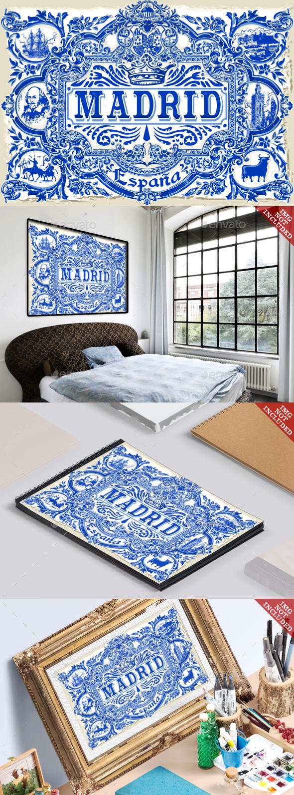 Madrid Azulejos Vintage 2D - Backgrounds Decorative