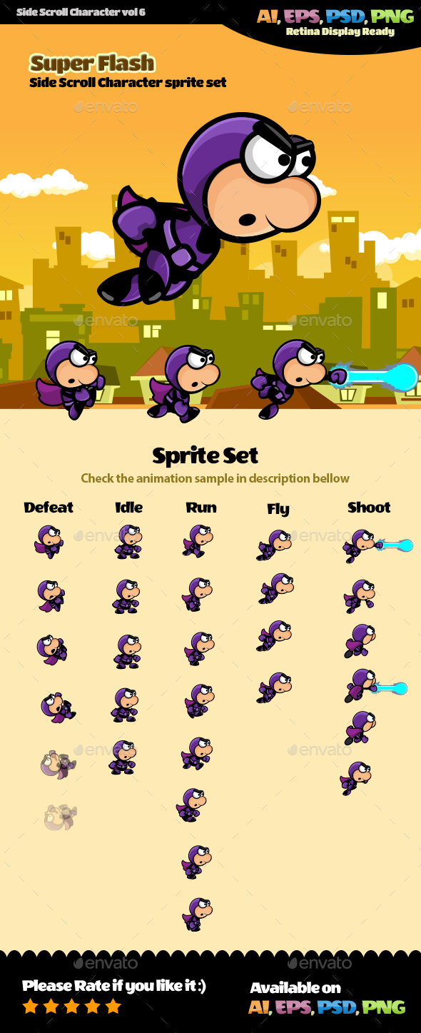 Side Scroll Character Vol 6 - Sprites Game Assets