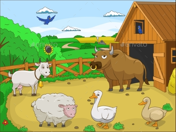 Farm Cartoon Educational Illustration - Landscapes Nature