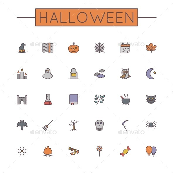 Vector Colored Halloween Line Icons - Seasonal Icons