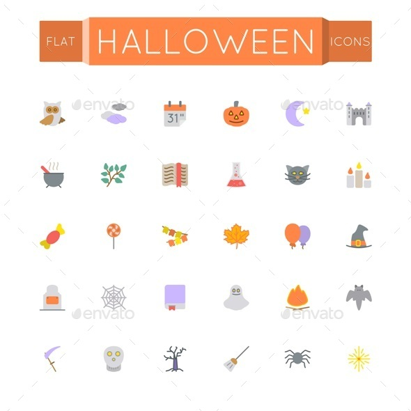 Vector Flat Halloween Icons - Seasonal Icons