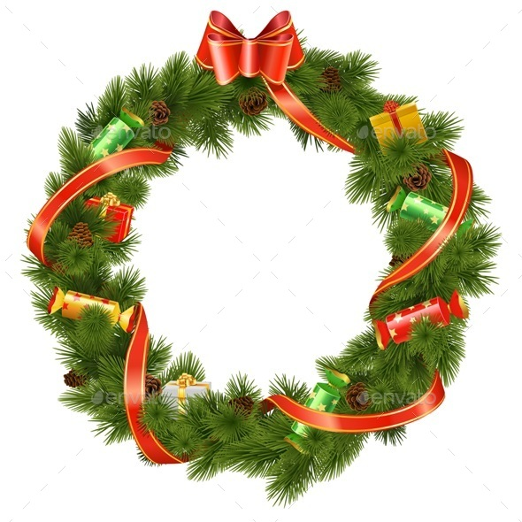 Vector Christmas Wreath with Candy - Christmas Seasons/Holidays