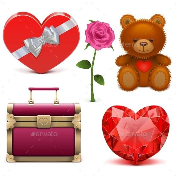 Vector Romantic Icons - Valentines Seasons/Holidays