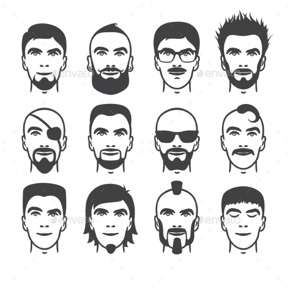 Man Faces Set - People Characters