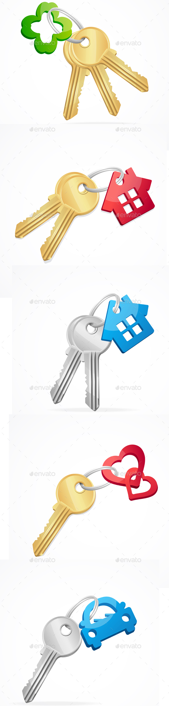 Keys and Key Chain Set. Vector - Objects Vectors