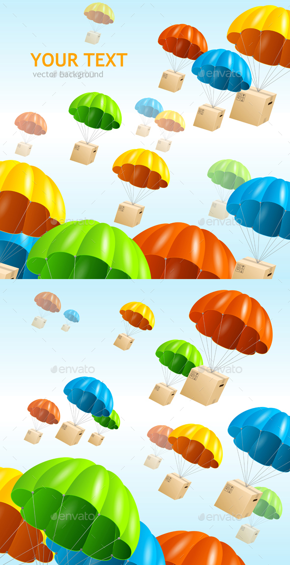 Parachute Background. Air Shipping Concept. Vector - Backgrounds Decorative