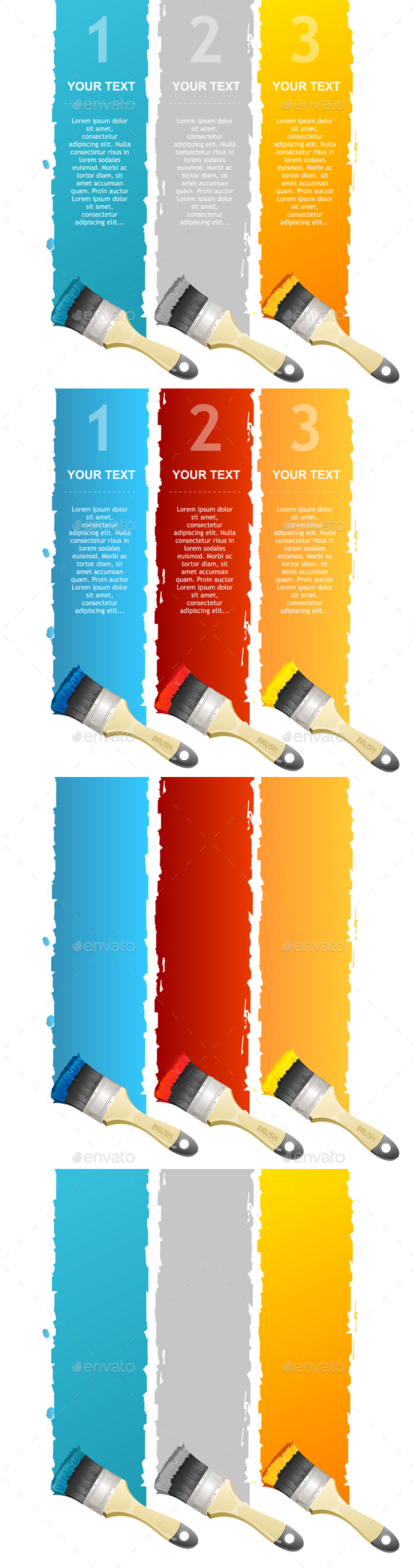 Colorful Text Box and Brushes. Vector - Conceptual Vectors