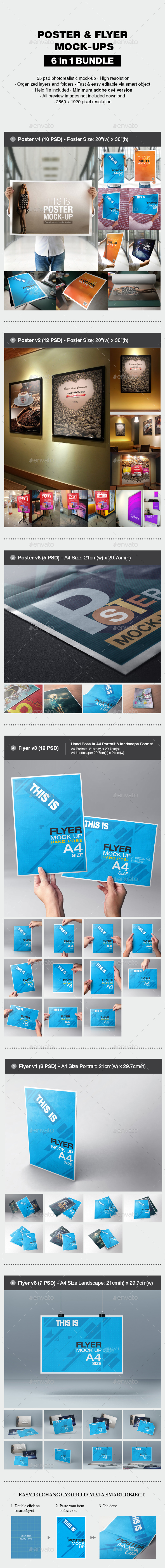 Poster & Flyer Mock-up Bundle - Print Product Mock-Ups