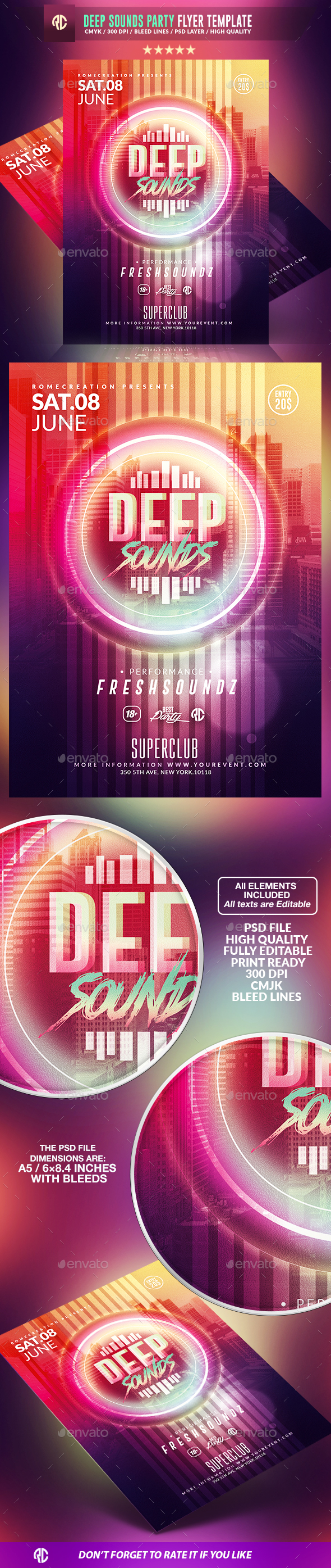 Deep Sounds Party | Psd Flyer Template - Events Flyers