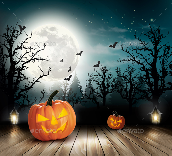 Holiday Halloween Background With Pumpkins - Halloween Seasons/Holidays