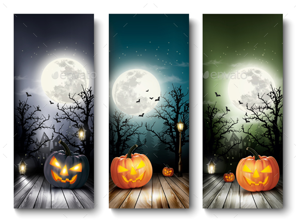 Holiday Halloween Banners With Pumpkins And Vector - Halloween Seasons/Holidays